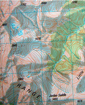 Section of the K34 Wilberforce map showing the high basins and tarns of the Jordan Stream tops