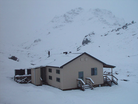 Woolshed Creek Hut in winter