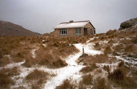 Packhorse Hut on a bleak winter's day