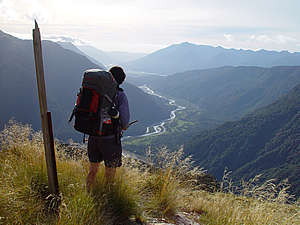 Tramping on the Kelly Range above the Taipo River, Arthurs Pass